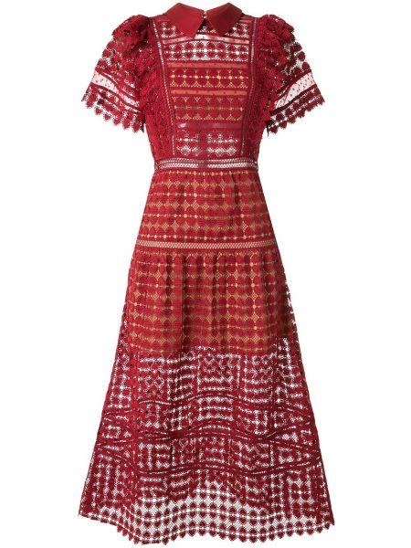 Платье мини бордовый миди Self-portrait