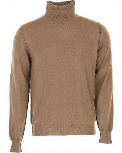 Brązowy sweter bawełniany z długimi rękawami Dondup