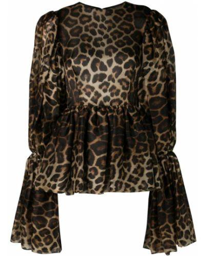 Блузка с баской - коричневая Christian Siriano