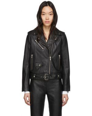 Кожаная куртка черная длинная Stand Studio