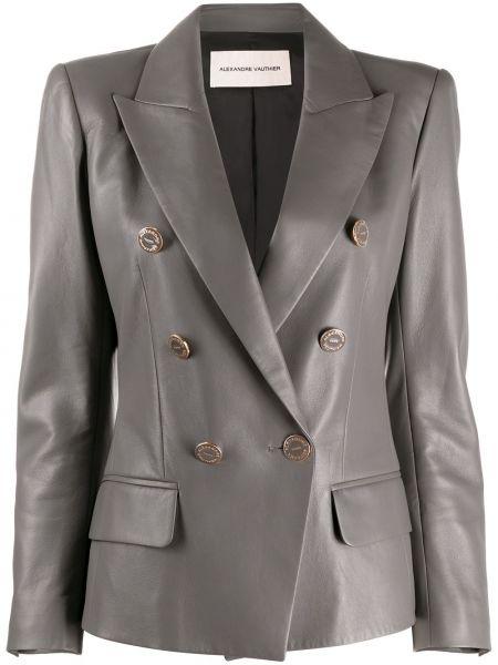 Серый кожаный удлиненный пиджак двубортный Alexandre Vauthier