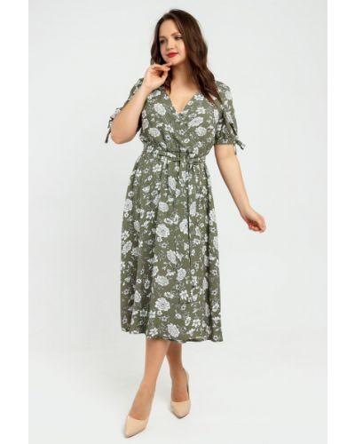 Повседневное платье миди с запахом с поясом Liza Fashion
