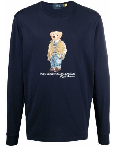 Niebieski polo z długimi rękawami bawełniane Polo Ralph Lauren