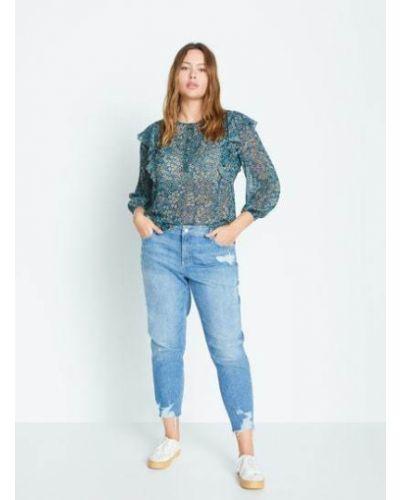 Синяя блузка с оборками на пуговицах Mango