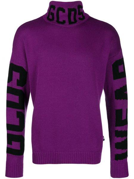 Fioletowy sweter wełniany z printem Gcds