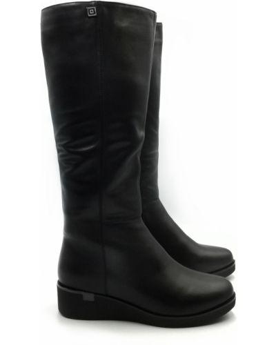Кожаные сапоги - черные Polann