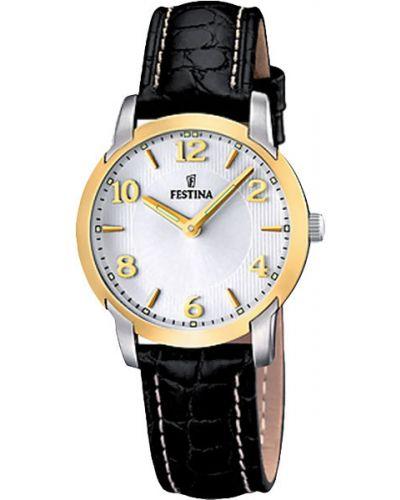 Часы на кожаном ремешке кварцевые водонепроницаемые с подсветкой Festina