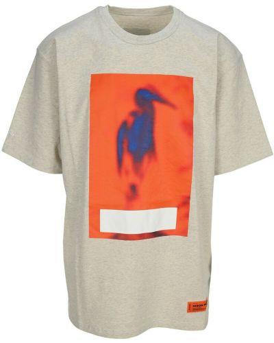 T-shirt z printem - szara Heron Preston