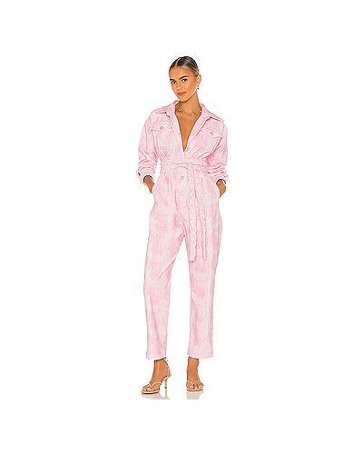 Розовый комбинезон вельветовый на пуговицах с карманами Loveshackfancy