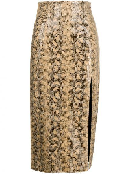 Прямая с завышенной талией юбка миди на молнии с разрезом 16arlington
