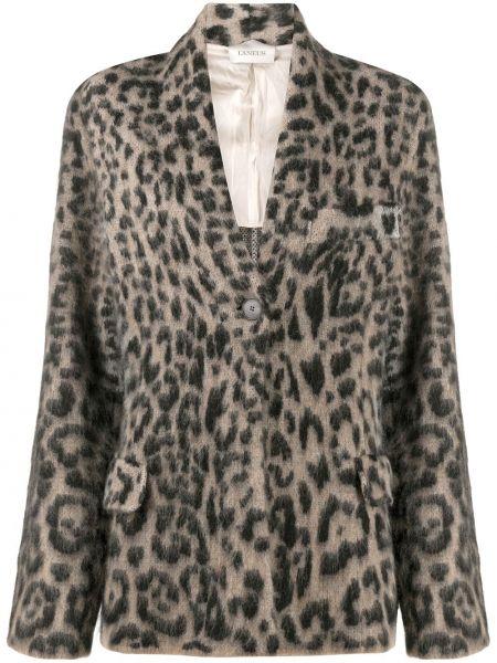 Шерстяной коричневый удлиненный пиджак на пуговицах Laneus