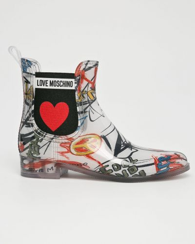 Белые резиновые сапоги Love Moschino