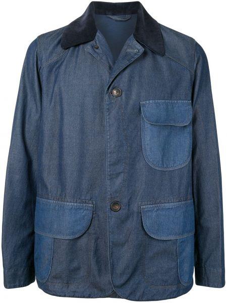 Klasyczna niebieska długa kurtka bawełniana Kent & Curwen