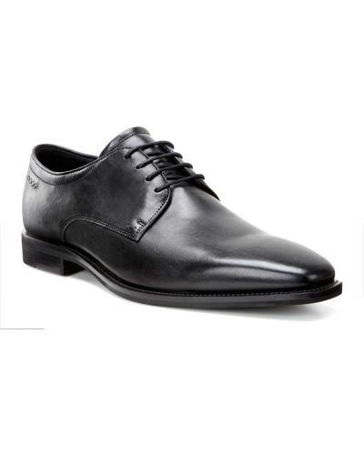 Кожаные туфли черные классические Ecco
