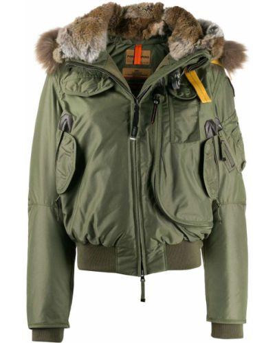 Прямая куртка с капюшоном милитари с опушкой мятная Parajumpers