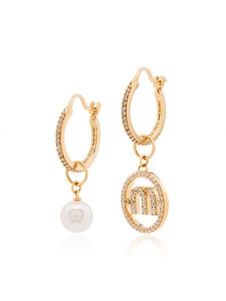 Kolczyki ze sztyftem złoto z perłami Miu Miu