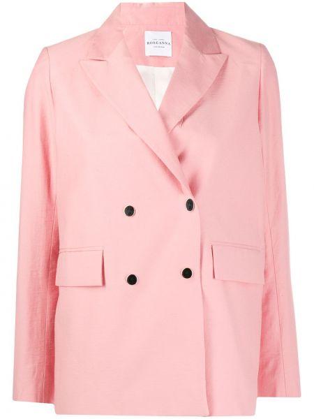 Розовый пиджак двубортный с карманами Roseanna