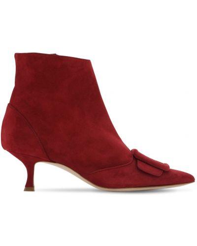 Ботинки на каблуке замшевые Manolo Blahnik
