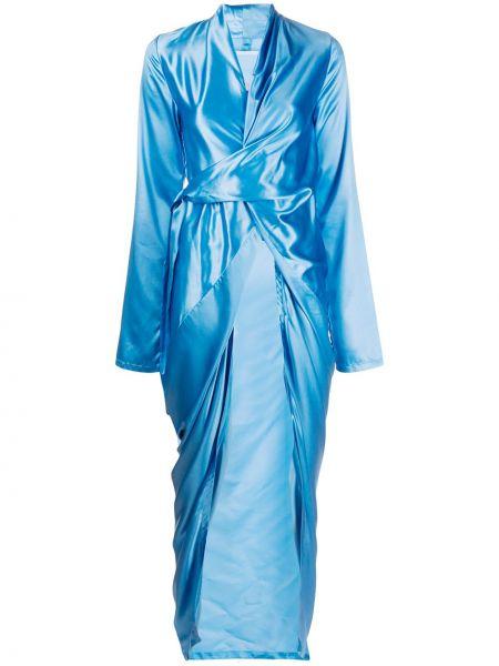 Niebieski długo sukienka z dekoltem w szpic z długimi rękawami z falbankami Rick Owens