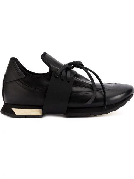 Кожаные черные кожаные кроссовки на шнуровке Artselab