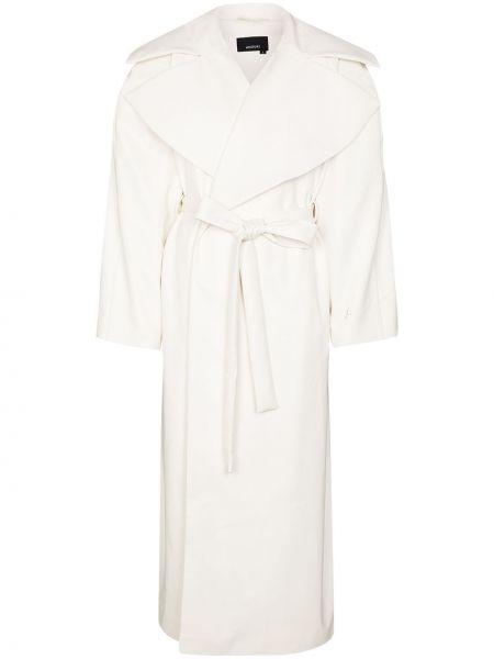 С рукавами белое длинное пальто свободного кроя из натуральной кожи Anouki