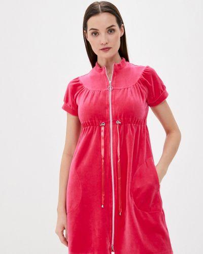 Бархатный розовый домашний халат Laete