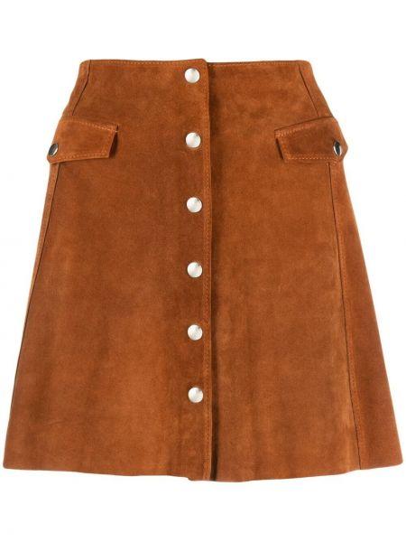 Brązowa spódnica mini skórzana z wysokim stanem Department 5