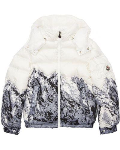 Biała kurtka z kapturem z nylonu Moncler