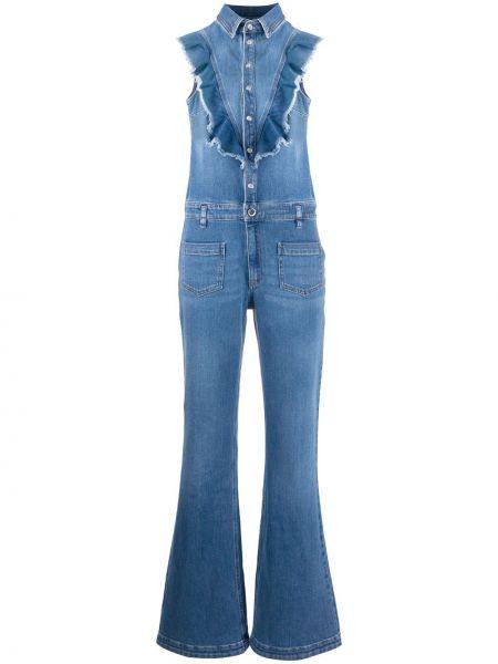 Хлопковый синий джинсовый комбинезон с поясом Redvalentino