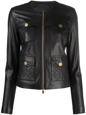 Черная стеганая кожаная куртка Pinko