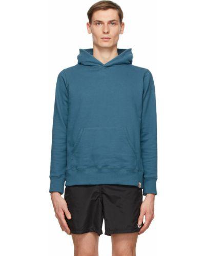Niebieska bluza długa z kapturem z długimi rękawami Bather
