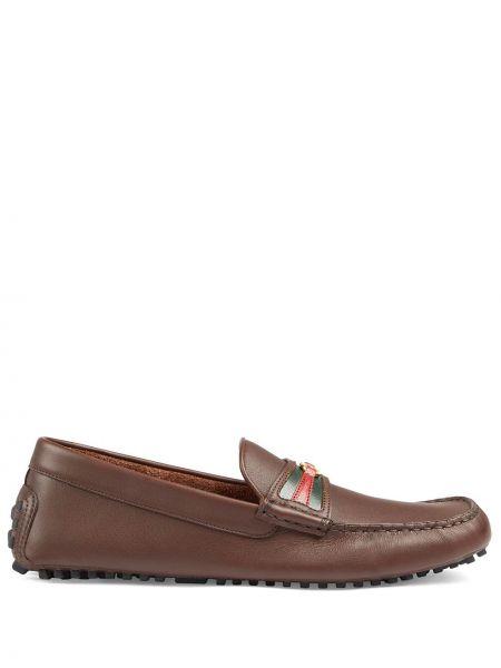 Brązowy skórzany loafers Gucci