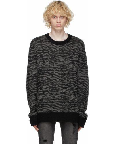 Czarny długi sweter moherowy z długimi rękawami Ksubi