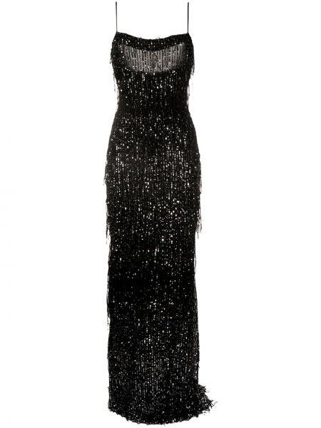 Тонкое платье с бахромой с открытой спиной на бретелях Talbot Runhof