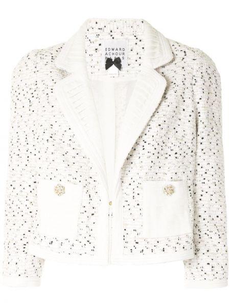 Белый удлиненный пиджак твидовый Edward Achour Paris