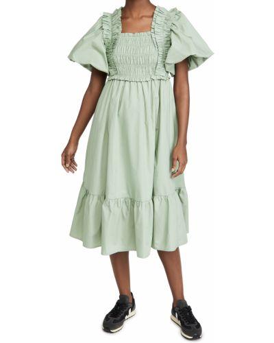 Хлопковое зеленое платье миди с подкладкой English Factory