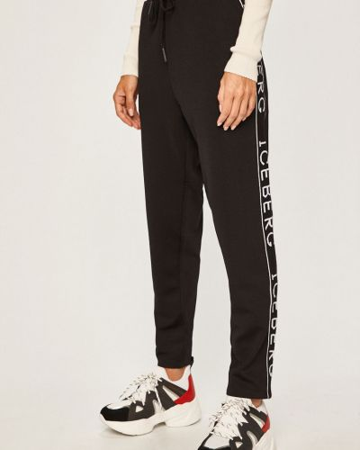 Черные брюки на резинке с нашивками с воротником с поясом Iceberg