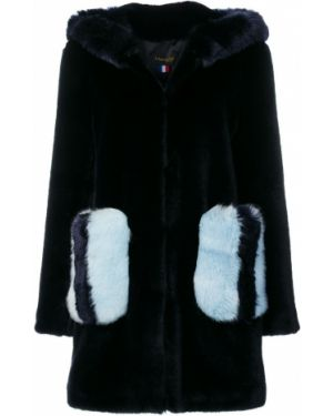 Акриловое синее пальто с капюшоном La Seine & Moi