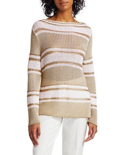 Льняной открытый длинный свитер в полоску Piazza Sempione