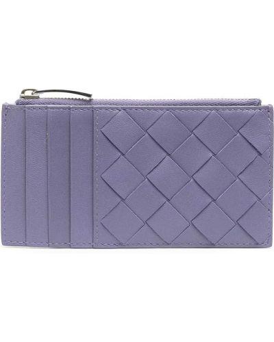 Фиолетовая кожаная визитница на молнии Bottega Veneta