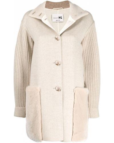 Длинное пальто с капюшоном на пуговицах Manzoni 24