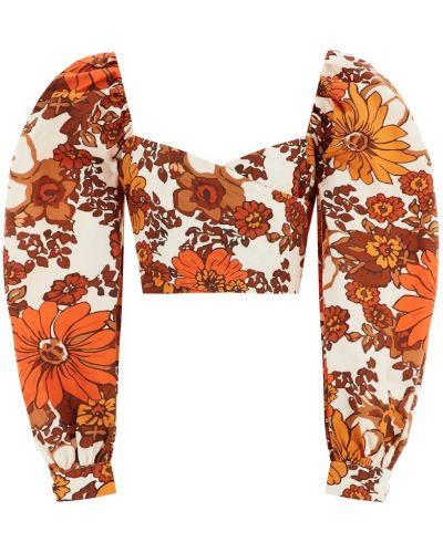Оранжевый топ с завязками с декольте с драпировкой Dodo Bar Or