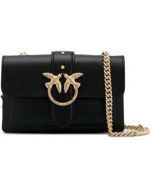 Черная сумка через плечо с заклепками с перьями Pinko