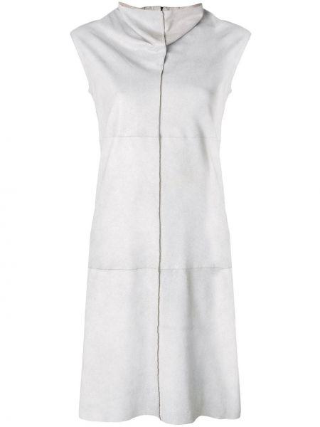 Серое кожаное платье без рукавов Vanderwilt