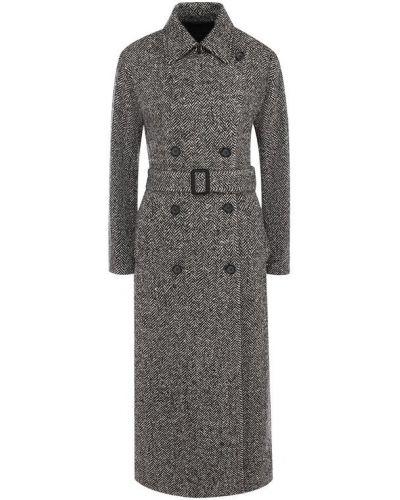 Кожаное пальто с поясом шерстяное Loro Piana