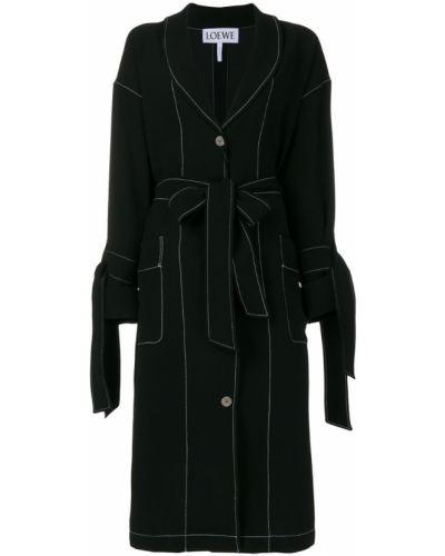 Черное пальто классическое с капюшоном на пуговицах Loewe