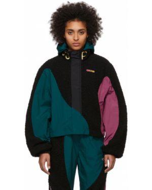 Черная нейлоновая куртка с капюшоном с манжетами для полных Reebok By Pyer Moss