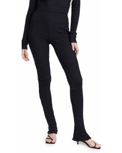 Spodnie prążkowane - czarne Mm6 Maison Margiela