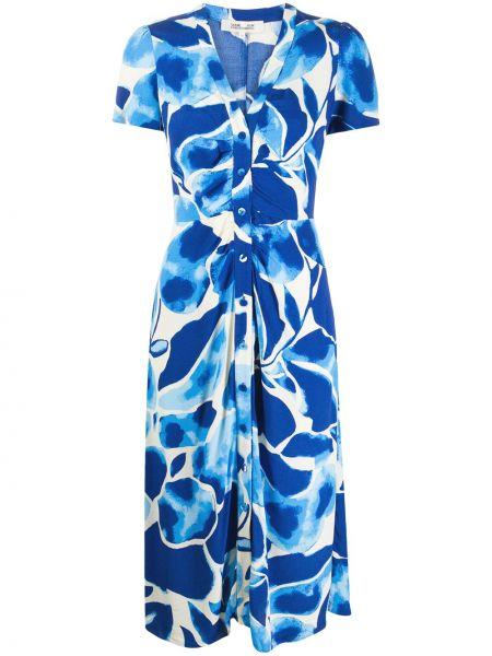 Синее платье мини с запахом с короткими рукавами из вискозы Dvf Diane Von Furstenberg