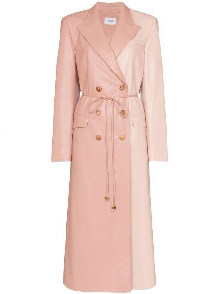 Klasyczny różowy płaszcz skórzany Nanushka